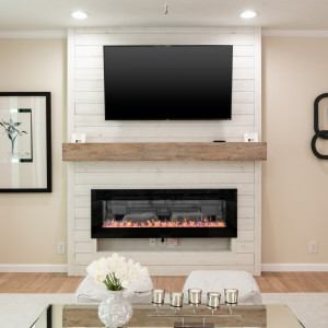 Modern farmhouse style living room with fireplace.